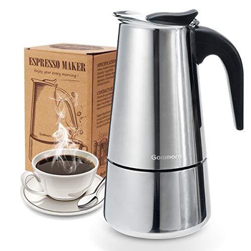 Godmorn Espressokocher, Kaffeekocher, Mokkakanne aus 430 Edelstahl, Espresso Maker für 4/6/10 Tassen,...