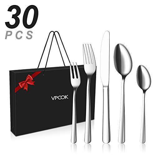 VPCOK Geschenkbox Besteck set Besteckset, 30 teilig für 6 Personen, Gemischte Bestecksets aus Edelstahl...