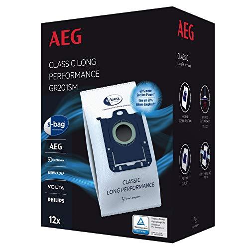 AEG GR201SM s-bag Staubbeutel Classic Long Performance MegaPack (12 Synthetik Staubsaugerbeutel für dauerhaft...
