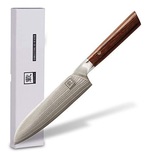 zayiko Kass Damastmesser Santoku Messer 17,70 cm Klinge extrem scharf aus 67 Lagen I Damast Küchenmesser und...