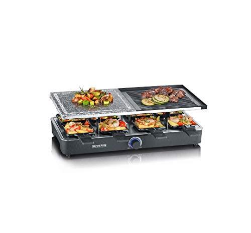 SEVERIN Raclette-Grill mit Naturgrillstein und Grillplatte, Raclette mit antihaftbeschichteter Grillplatte und...