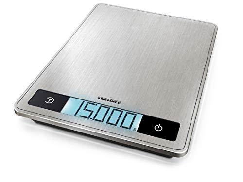 Soehnle Page Profi 200, digitale Küchenwaage silber aus Edelstahl, Gewicht bis zu 15 kg (1-g-genau),...