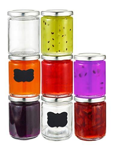 Praknu 25 Marmeladengläser 230 ml mit Deckel, Etiketten - Luftdichte Einmachgläser zum Einkochen &...