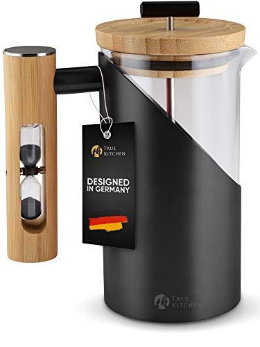 True Kitchen French Press aus Edelstahl + Glas + Bambus I Kaffeezubereiter mit Anleitung I ca. 0,5 L (für 3...