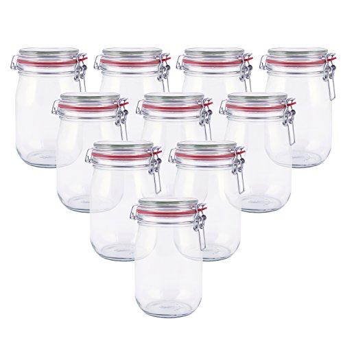 pajoma Drahtbügelglas, 10x 1000 ml Fassungsvermögen inkl. Gummidichtung Einmachglas hergestellt in...