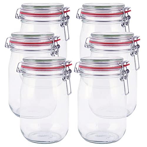 pajoma Drahtbügelglas, 6x 1000 ml Fassungsvermögen inkl. Gummidichtung Einmachglas hergestellt in...