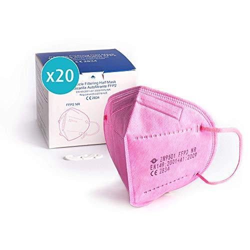 20x Atemschutzmaske FFP2, pink, Maske ≥95% EU CE zertifiziert 2834 einzelverpackt im PE-Beutel