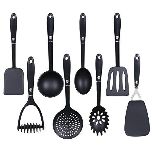9-teiliger Küchenhelfer Set Küchenutensilien Schwarz Kochbesteck Set Küchenhelfer für Beschichtete Pfannen...
