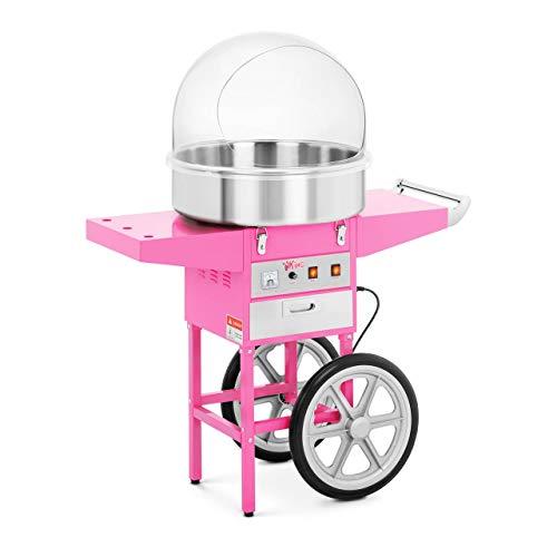 Royal Catering RCZC-1200E Zuckerwattemaschine Cotton Candy Machine mit Wagen und Spuckschutz (Ø 52 cm, 1.200...
