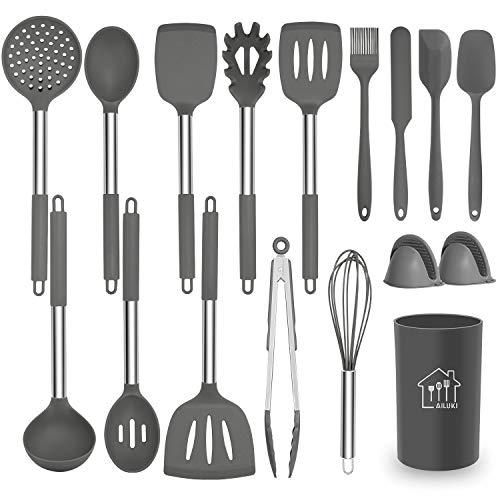 AILUKI Silikon Kochgeschirr Set, Küchengerät 17 teiliges Küchenhelfer Set, Antihaft Hitzebeständiger...