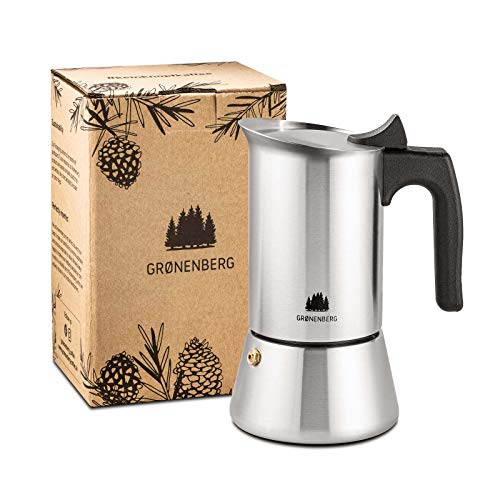 Groenenberg Espressokocher Induktion geeignet | Edelstahl | 4-6 Tassen Espressokanne | 200-300 ml Mokkakanne |...