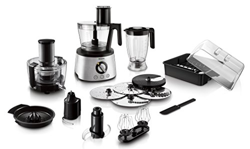 Philips HR7778/00 Küchenmaschine (1.300 Watt, inkl. Knethaken, Entsafter, Standmixer und Zitruspresse)...