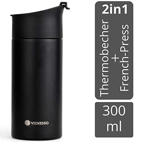 VIENESSO Kaffee Travel-Press mit Thermo Funktion I 2in1 Vakuum Thermobecher aus Edelstahl für unterwegs mit...