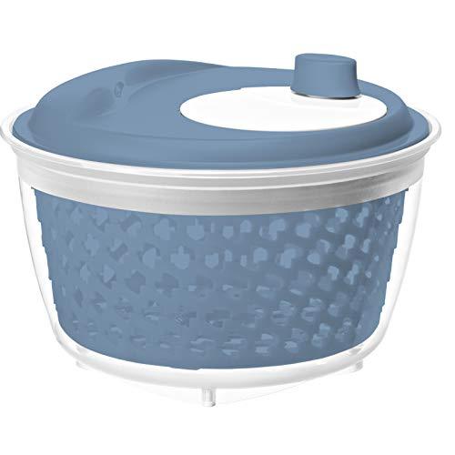 Rotho 1722406161 Fresh Salatschleuder, Kunststoff (PP) BPA-frei, blau/transparent, 4.5l