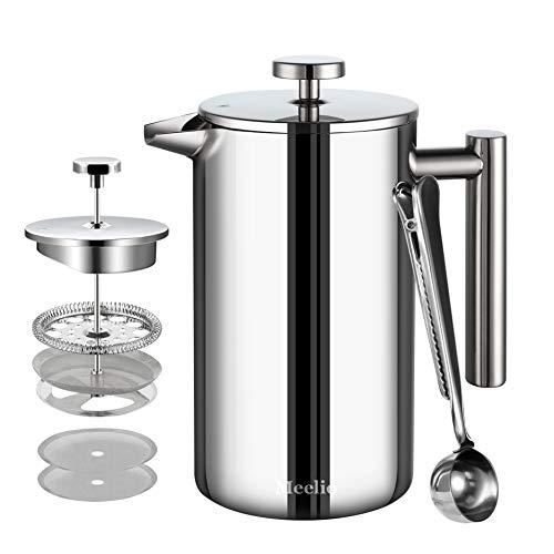 Meelio French Press aus Edelstahl | 1 Liter (6 Tassen), Kaffeebereiter doppelwandig isoliert | Kaffeepresse...