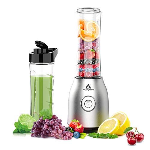 Smoothie Mixer Maker, Mini Standmixer für Smoothie, Shakes, Eis und Tiefkühlfrüchte, mit 2 Tritan...