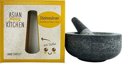 JADE TEMPLE Steinmörser mit Stößel im Set, effektives und einfaches mörsern, aus massivem Granit mit 18 cm...