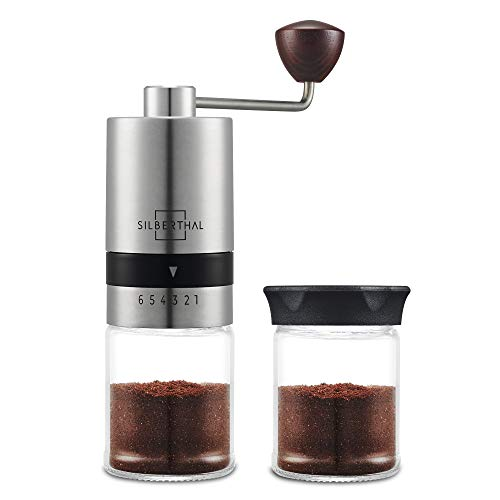 SILBERTHAL Manuelle Kaffeemühle - Verstellbarer Mahlgrad - Handmühle aus Edelstahl und Glas