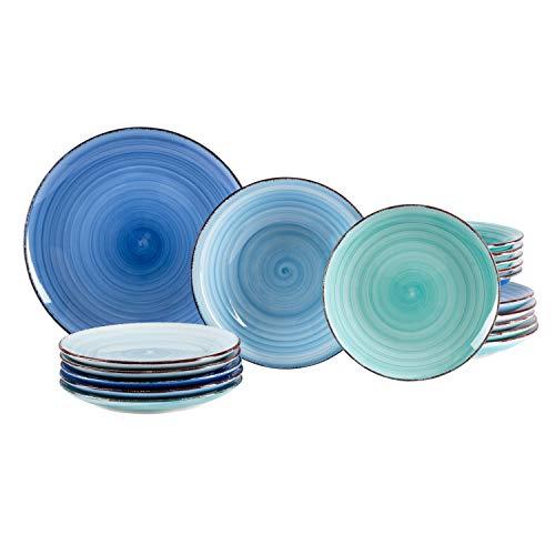 MamboCat 18tlg. Teller-Set Blue Baita | edles Steingut-Geschirr | großer Speiseteller + tiefer Suppenteller +...
