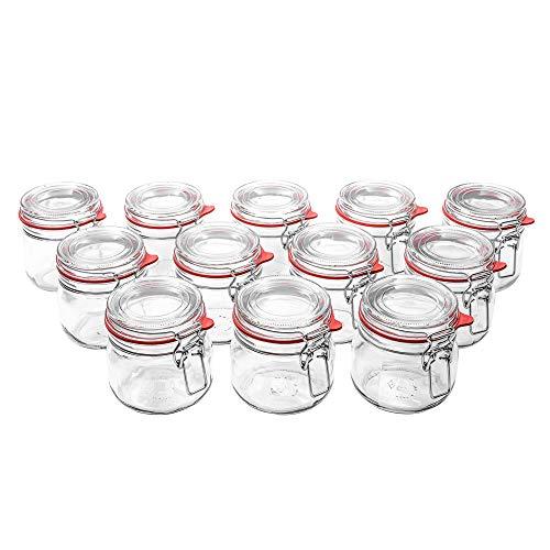 Flaschenbauer - 12 Drahtbügelgläser 634ml verwendbar als Einmachglas, zu Aufbewahrung, Gläser zum...