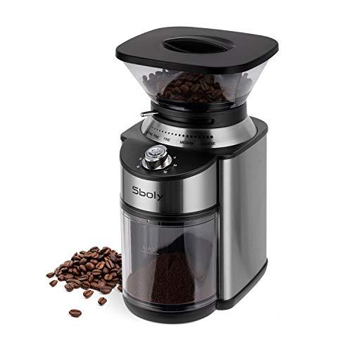 Sboly Elektrische Kaffeemühle, Kaffeemühle mit Kegelmühle, Einstellbare Edelstahlmühle mit 19 Präzisen...