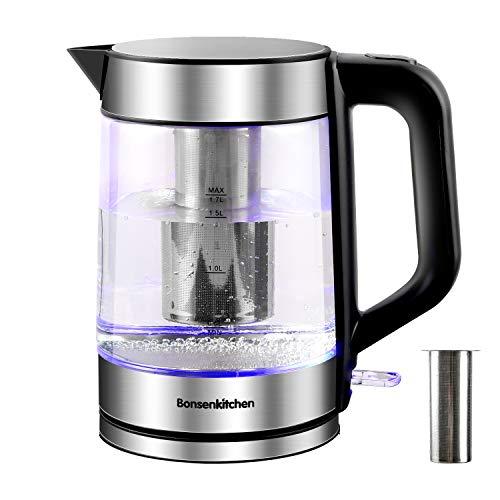 1.7L Glas Wasserkocher (BPA-frei), 2200W Elektrischer Teekanne mit Edelstahl Filter mit LED-Anzeigelampen,...
