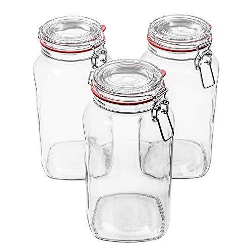 Flaschenbauer - 3 Drahtbügelgläser 2590ml verwendbar als Einmachglas, zu Aufbewahrung, Gläser zum...