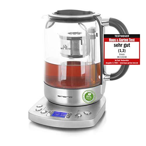 Emerio WK-122248, Glas Teekocher, Wasserkocher, TESTSIEGER mit Note 1.3, vollautomatisches Teesieb,...