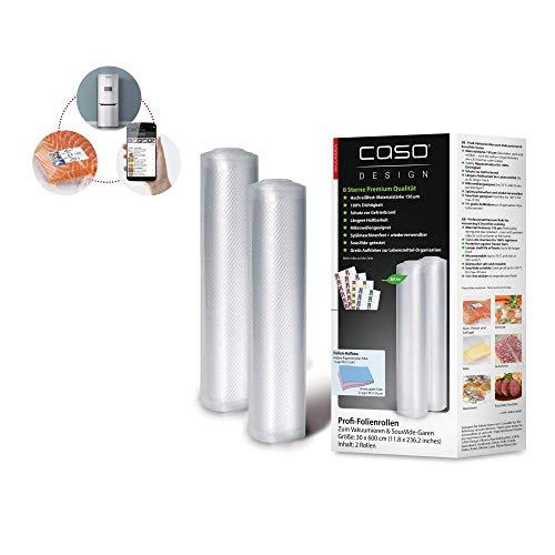 CASO Profi- Folienrollen 30x600 cm / 2 Rollen, für alle Balken Vakuumierer, BPA-frei, sehr stark & reißfest...