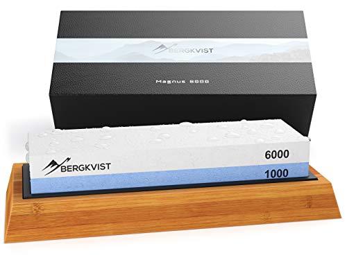 BERGKVIST® Messerschaerfer Profi 6000/1000 I 2-in-1 Wasser-Schleifstein zum Schärfen von Outdoor und...