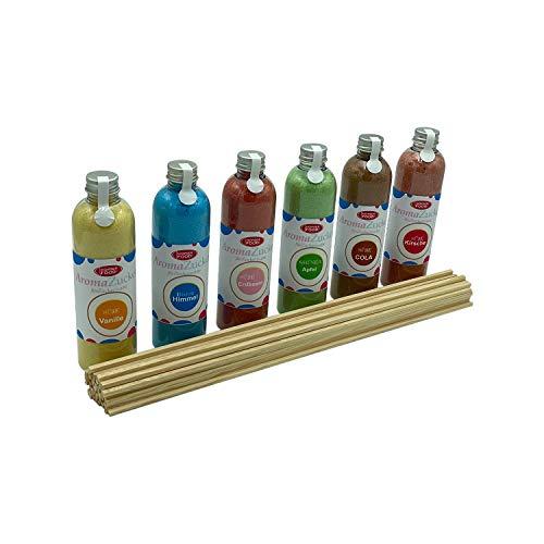 Partyset 6 x 230 Gramm Zuckerwatte Zucker für Zuckerwattemaschine Inklusive 100 Zuckerwattestäbe