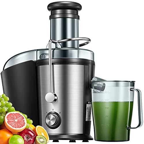 Entsafter Gemüse und Obst, 75MM Edelstahl Entsafter, 800W Zentrifugal Entsafter mit Anti-Tropf-Funktion und...