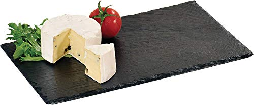 Kesper Buffet-Platte, Servierplatte, Schieferplatte, aus Schiefer, geölt, Maße: 300 x 200 x 10 mm, schwarz
