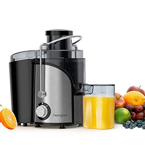 Homgeek Entsafter, Zentrifugal Entsafter für Obst und Gemüse, 2 Speed und Überhitzungsschutz, Juicer mit...