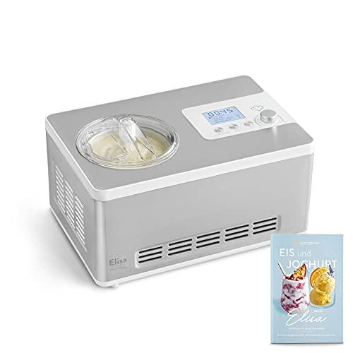 Eismaschine & Joghurtbereiter Elisa 2,0 L mit selbstkühlendem Kompressor 180 W, aus Edelstahl mit Kühl- und...