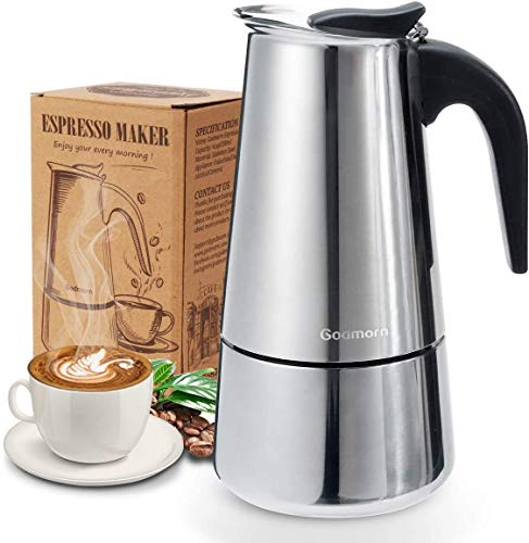 Espressokocher, Kaffeekocher, Godmorn Mokkakanne aus 430 Edelstahl, Espresso Maker für 6 Tassen (300 ml),...