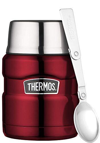 THERMOS Thermobehälter für Essen groß Lunchpot Stainless King, Edelstahl rot 470ml, Speisegefäß für...