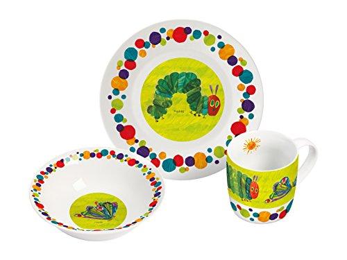 Raupe Nimmersatt Frühstücksset 3-teiliges Porzellanset, Porzellan, Mehrfarbig, 22,5 x 9,5 x 19,5 cm,...