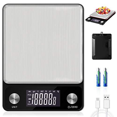 MOSUO Digitale Küchenwaage mit USB Aufladen, Digitalwaage 10kg / 1g Elektronische Waage Küchen...