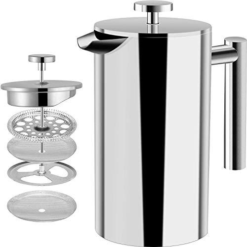 [1 Liter / 1000 ml] Kaffeebereiter - Doppelwandige Edelstahl - Kaffeemaschine - Französische Kaffeepresse -...