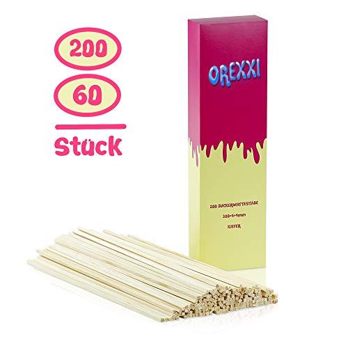 OREXXI Zuckerwatte Stäbe - 200 Zuckerwattestäbchen 30cm Für Zuckerwattemaschine Zuhause - Splitterfreie...