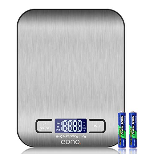 Eono by Amazon - Digitale Küchenwaage, Premium Edelstahl-Lebensmittelwaage, wiegt Gramm und Unzen zum Backen...