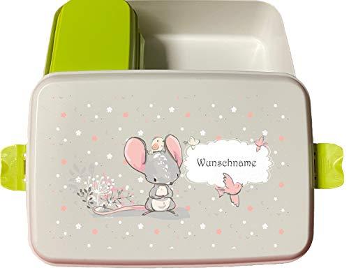 wolga-kreativ Brotdose Bio Kunststoff Maus mit Obsteinsatz für Jungen Mädchen Lunchbox Bento Box...