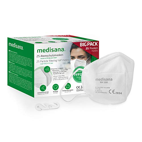 medisana FFP2 Atemschutzmaske Staubmaske Atemmaske, RM 100, Staubschutzmaske Mundschutzmaske 25 Stück...