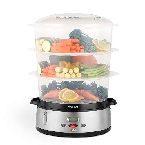 VonShef Dampfgarer 800W Digital 60-Minuten Timer mit 3 Behältern – Zur gesunden Zubereitung von Fisch,...