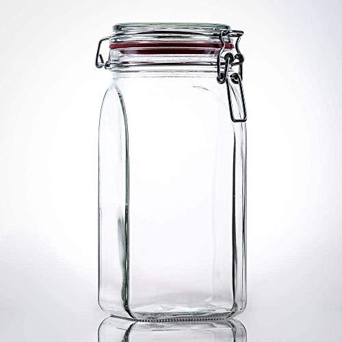 Flaschenbauer - 12 Drahtbügelgläser 1550ml verwendbar als Einmachglas, zu Aufbewahrung, Gläser zum...