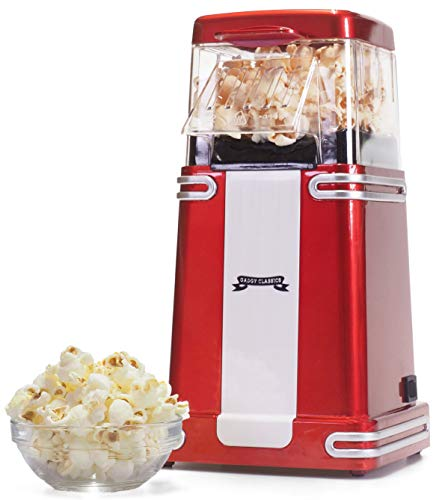 Gadgy ® Popcornmaschine | Heissluft Retro Popcorn Maker | Gesundes Snack| Fettfrei Ölfrei