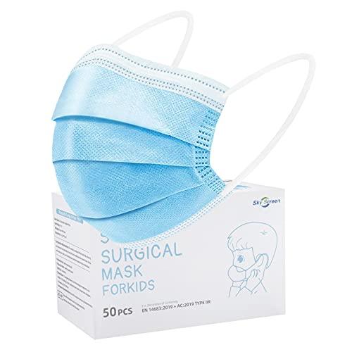 SOYES Kinder Mundschutz TYP IIR 3 Lagig Einwegmasken Kinder - 50 Stück CE Zertifizierte Einweg-Gesichtsmaske...