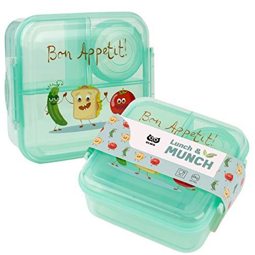OLWO® Lunchbox-Bentobox für Kinder und Erwachsenen, Brotdose für Kindergarten und Schule mit Unterteilung...