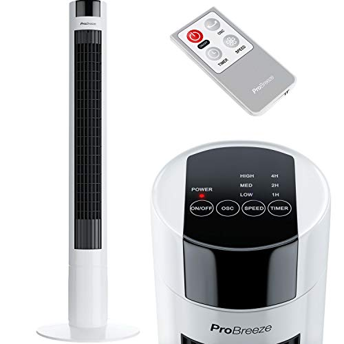 Pro Breeze™ Oszillierender Turmventilator, 100 cm Höhe, 80 Grad Oszillation, Säulenventilator mit 3...